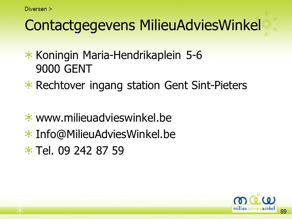 Contactgegevens MilieuAdviesWinkel