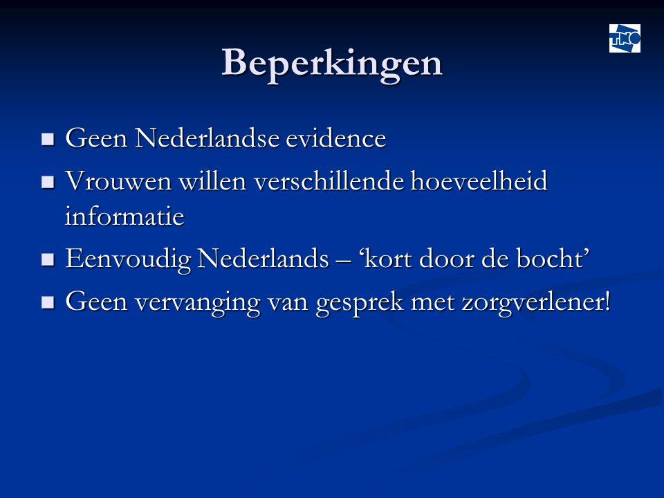 Beperkingen Geen Nederlandse evidence