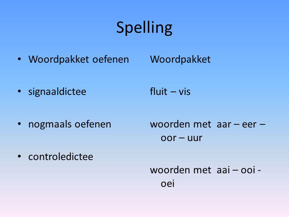 Spelling Woordpakket oefenen signaaldictee nogmaals oefenen