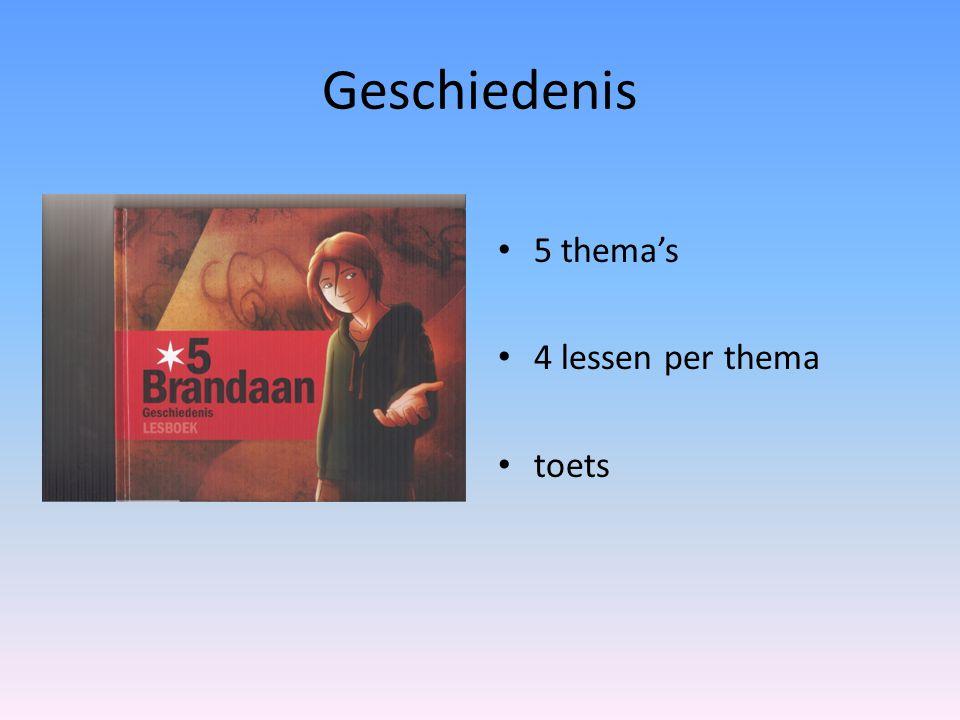 Geschiedenis 5 thema's 4 lessen per thema toets