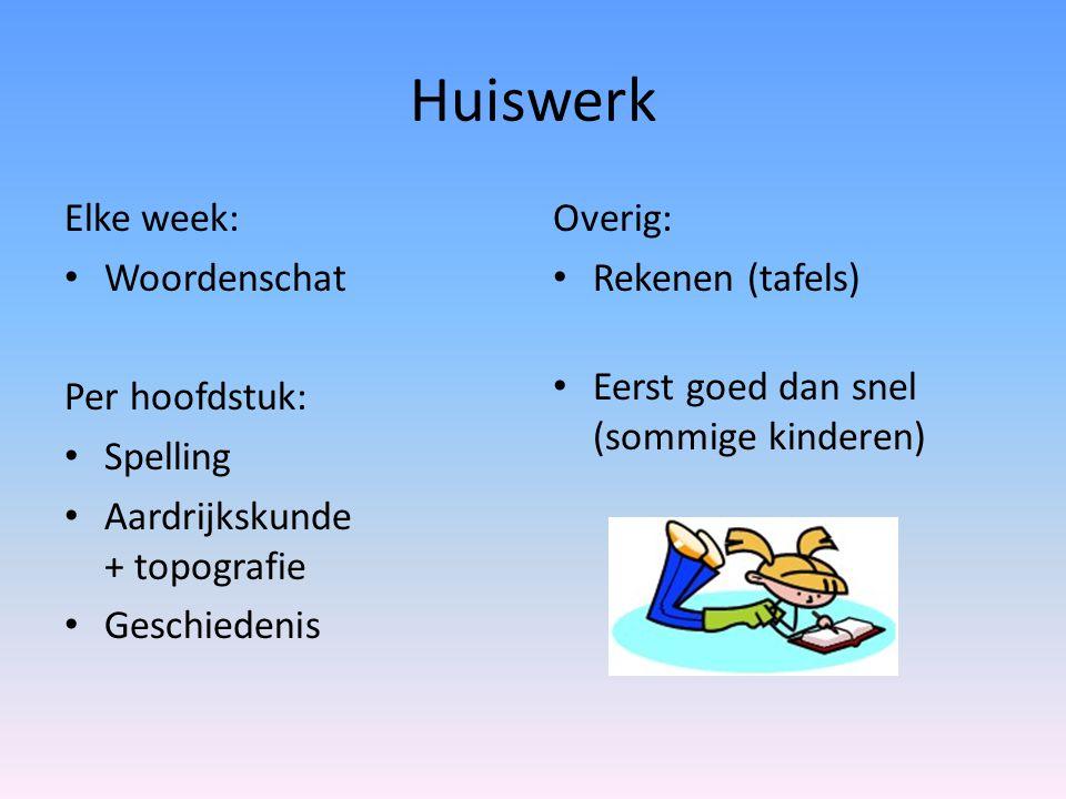 Huiswerk Elke week: Woordenschat Per hoofdstuk: Spelling