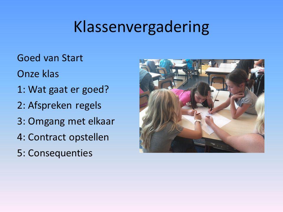 Klassenvergadering Goed van Start Onze klas 1: Wat gaat er goed