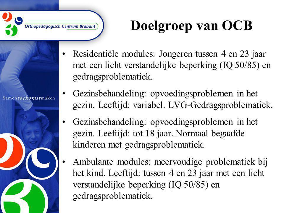 Doelgroep van OCB Residentiële modules: Jongeren tussen 4 en 23 jaar met een licht verstandelijke beperking (IQ 50/85) en gedragsproblematiek.