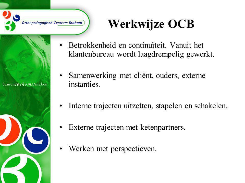 Werkwijze OCB Betrokkenheid en continuïteit. Vanuit het klantenbureau wordt laagdrempelig gewerkt.