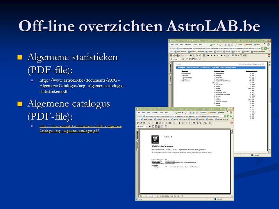 Off-line overzichten AstroLAB.be
