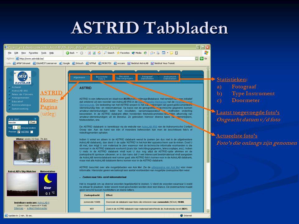 ASTRID Tabbladen Statistieken: Fotograaf Type Instrument Doormeter
