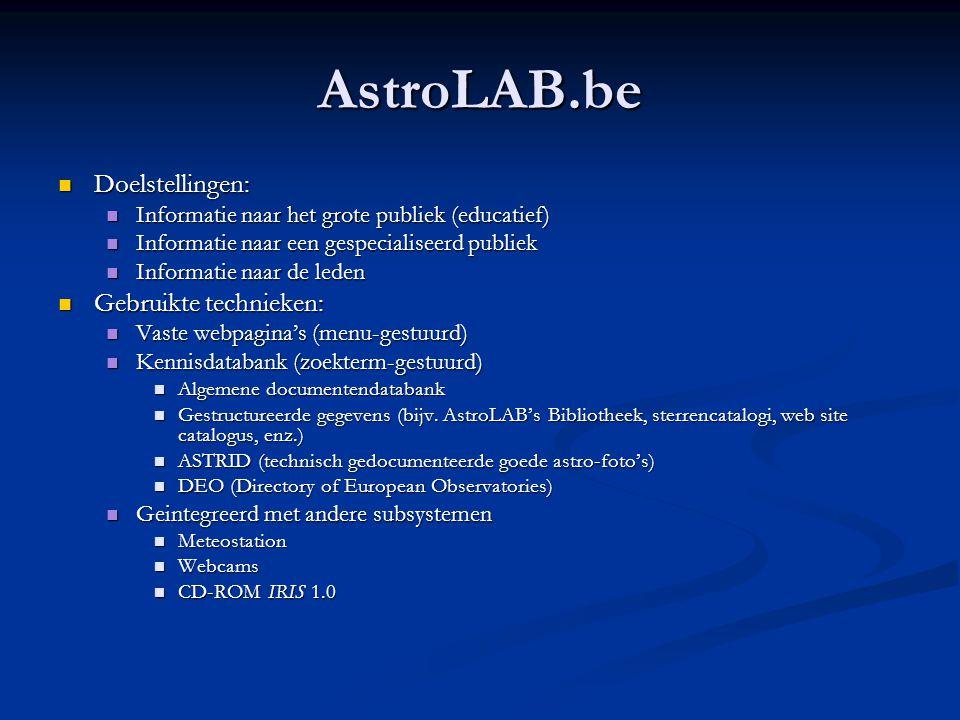 AstroLAB.be Doelstellingen: Gebruikte technieken: