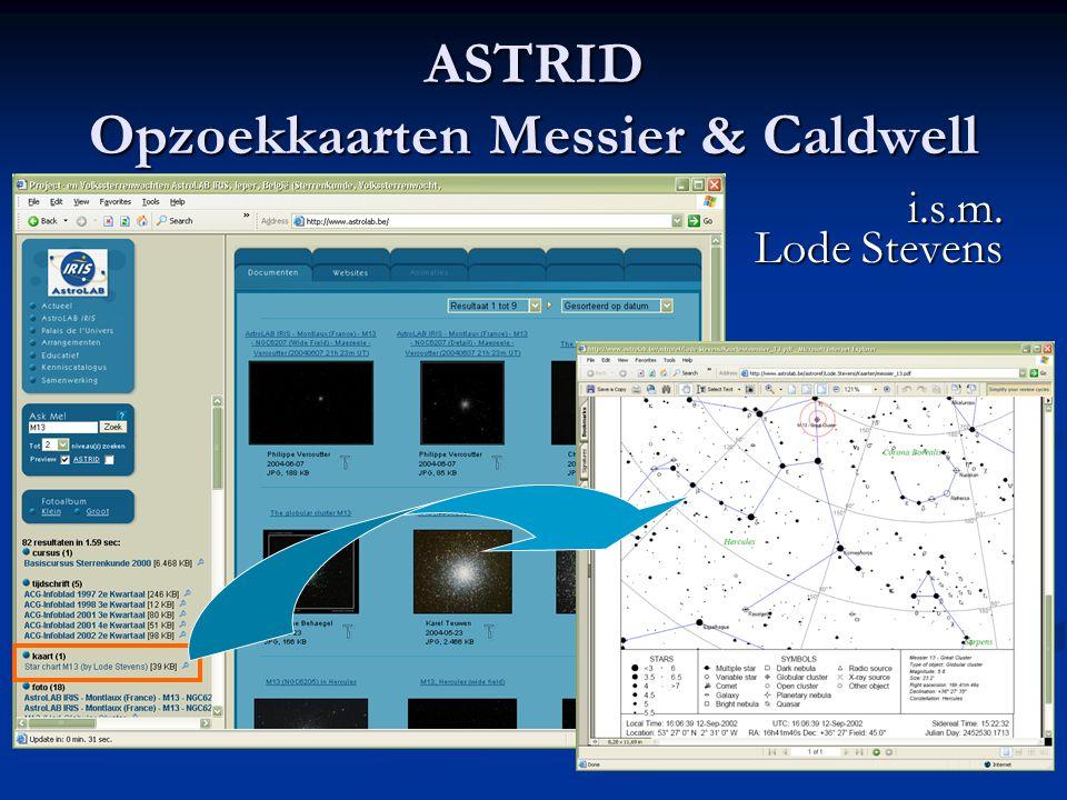 ASTRID Opzoekkaarten Messier & Caldwell