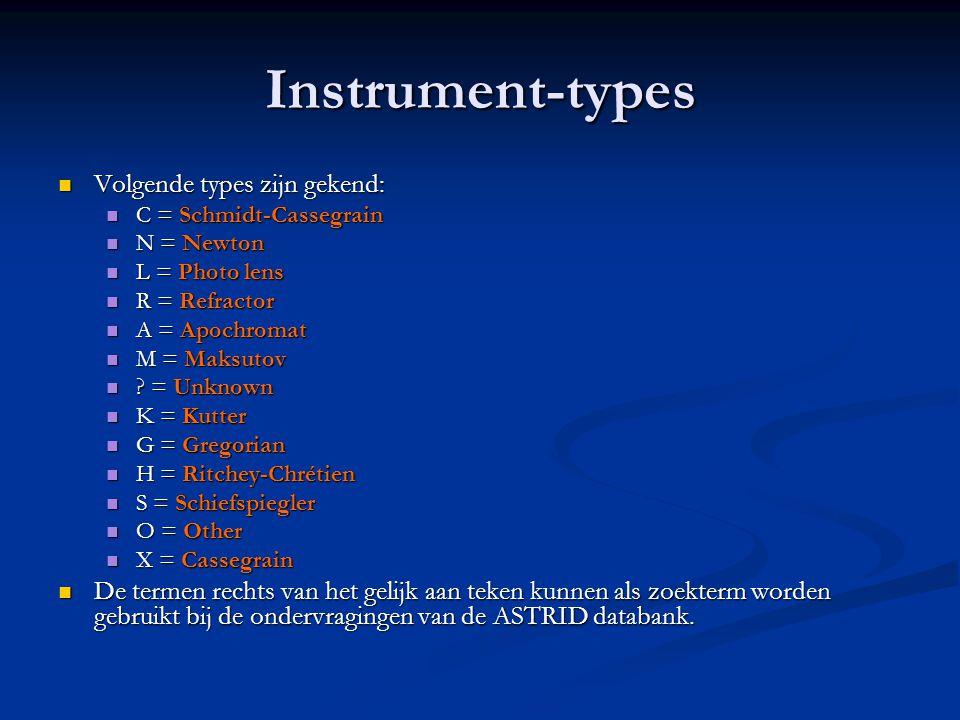 Instrument-types Volgende types zijn gekend: