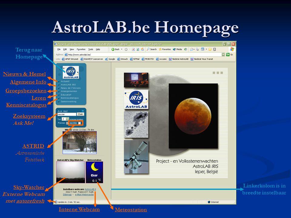 AstroLAB.be Homepage Terug naar Homepage Nieuws & Hemel Algemene Info