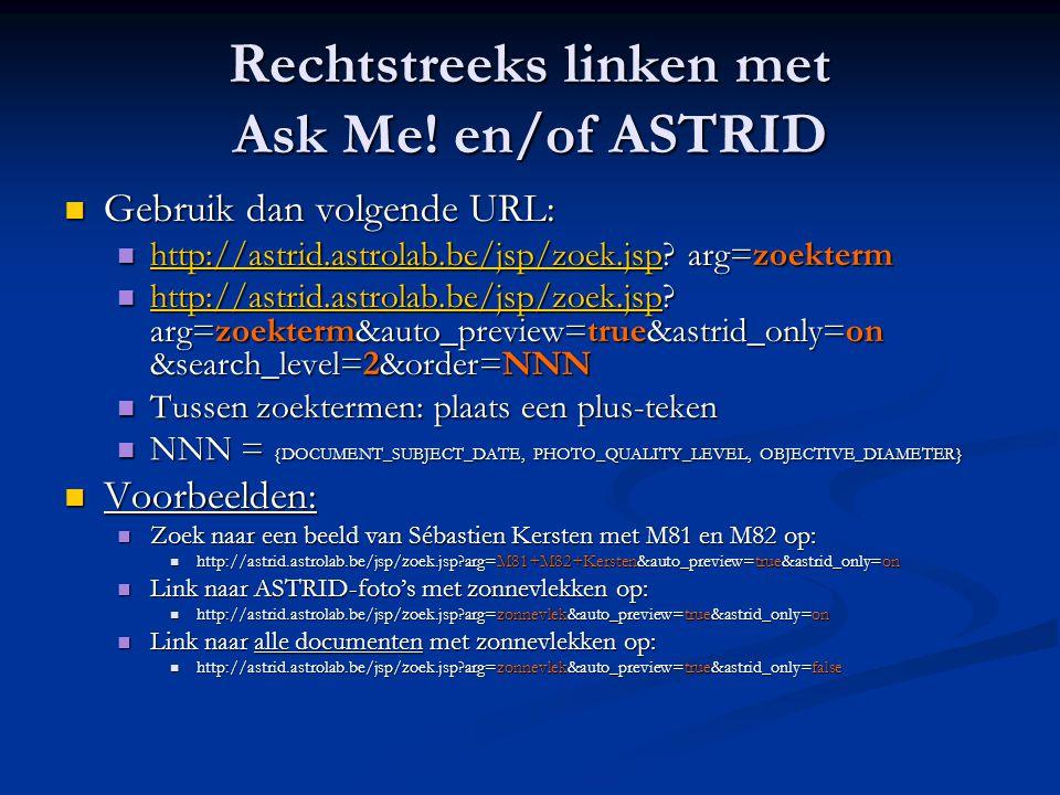 Rechtstreeks linken met Ask Me! en/of ASTRID