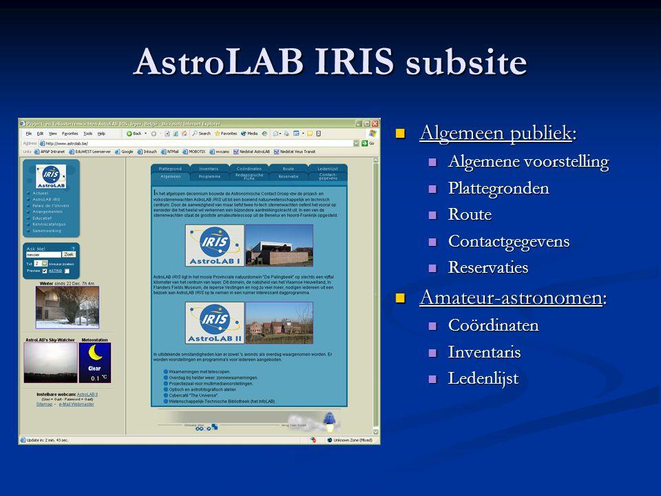 AstroLAB IRIS subsite Algemeen publiek: Amateur-astronomen: