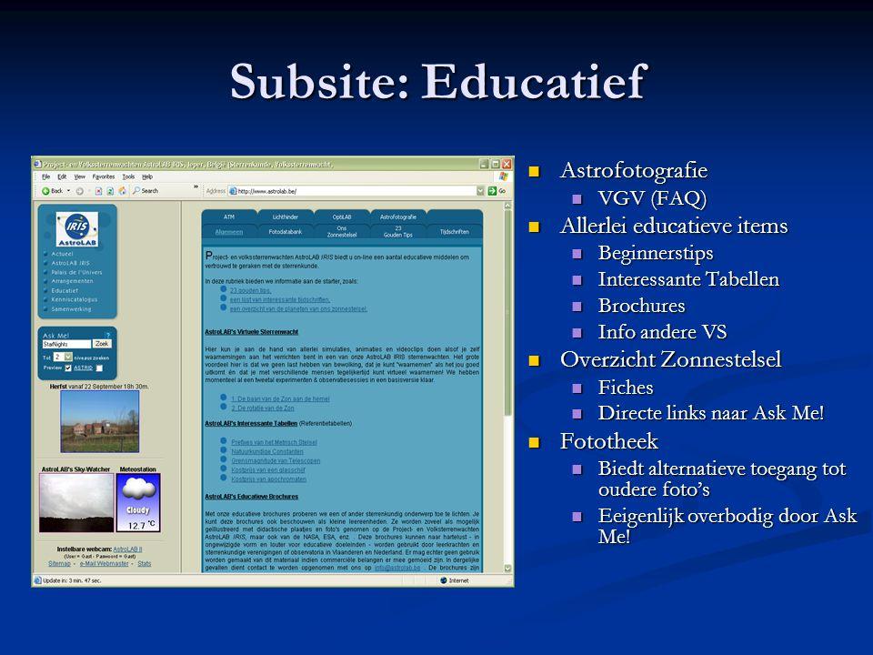 Subsite: Educatief Astrofotografie Allerlei educatieve items