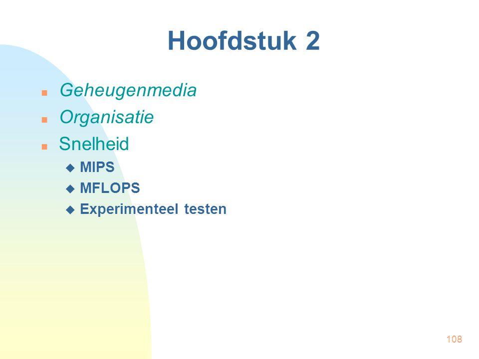 Hoofdstuk 2 Geheugenmedia Organisatie Snelheid MIPS MFLOPS