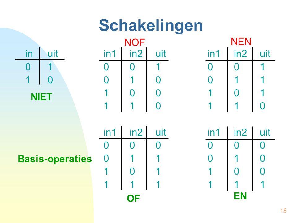 Schakelingen NEN NOF in uit in1 in2 uit in1 in2 uit 0 1 0 0 1 0 0 1