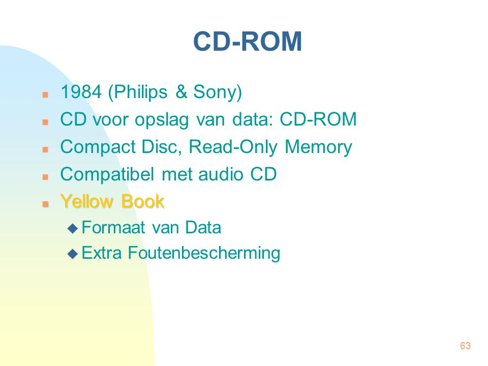 CD-ROM 1984 (Philips & Sony) CD voor opslag van data: CD-ROM