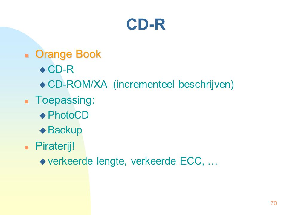 CD-R Orange Book Toepassing: Piraterij! CD-R