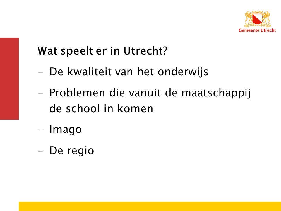 Wat speelt er in Utrecht De kwaliteit van het onderwijs