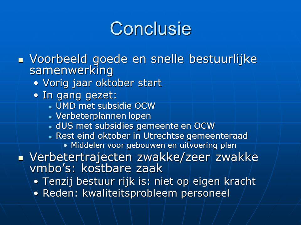 Conclusie Voorbeeld goede en snelle bestuurlijke samenwerking