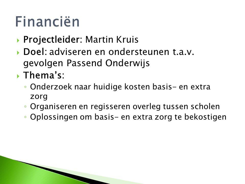 Financiën Projectleider: Martin Kruis