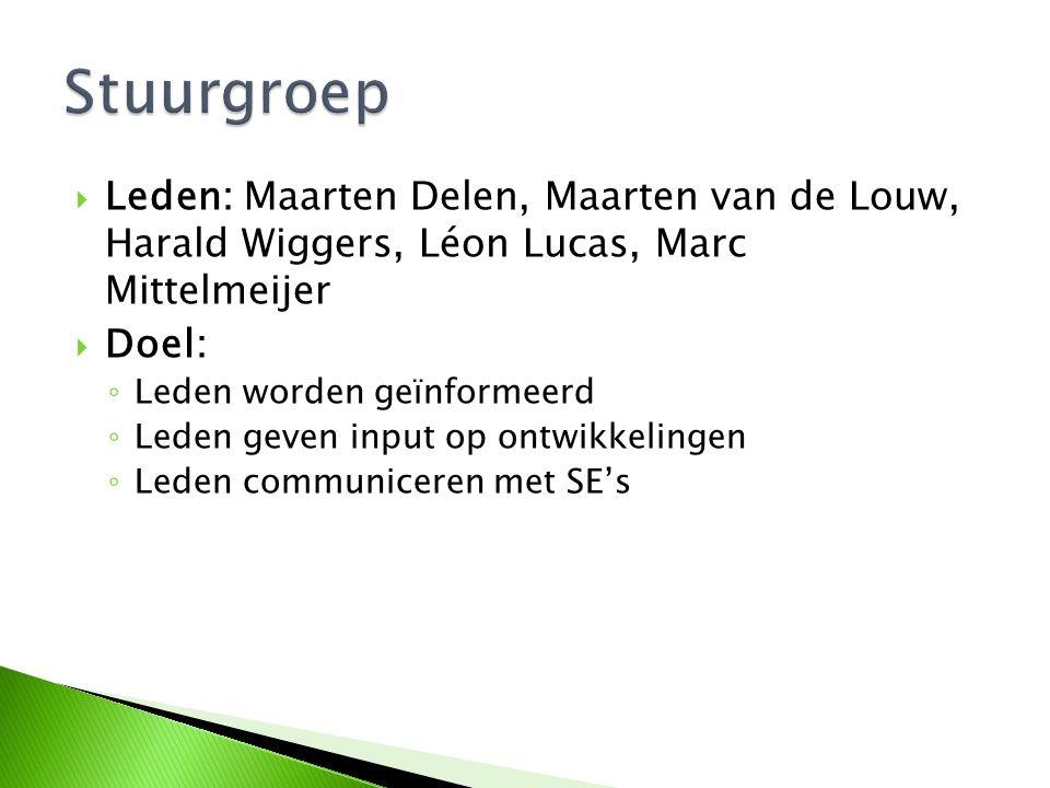 Stuurgroep Leden: Maarten Delen, Maarten van de Louw, Harald Wiggers, Léon Lucas, Marc Mittelmeijer.