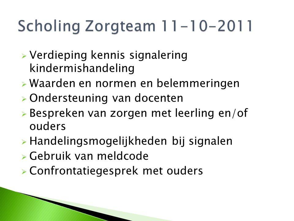 Scholing Zorgteam 11-10-2011 Verdieping kennis signalering kindermishandeling. Waarden en normen en belemmeringen.