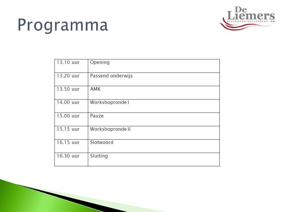 Programma 13.10 uur Opening 13.20 uur Passend onderwijs 13.50 uur AMK