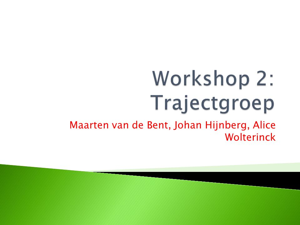 Workshop 2: Trajectgroep
