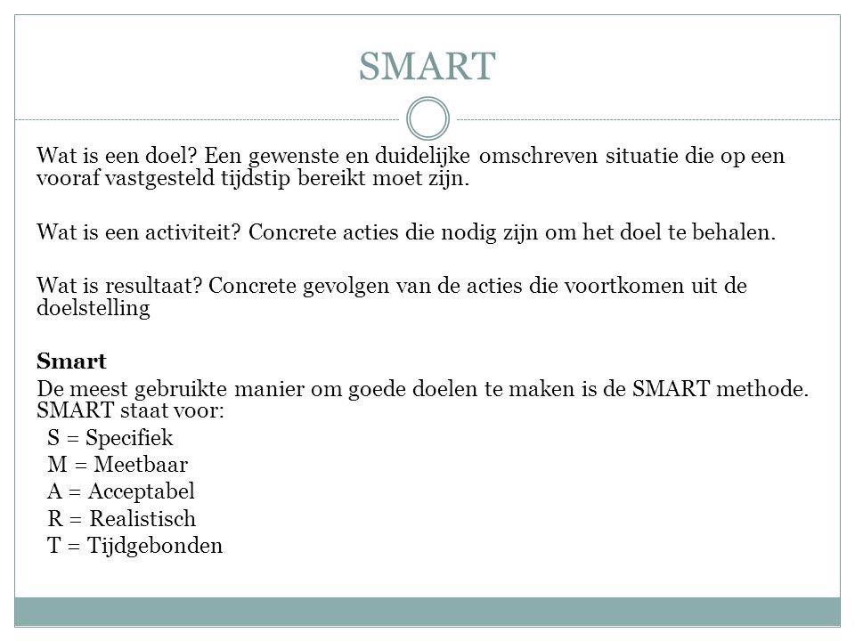 SMART Wat is een doel Een gewenste en duidelijke omschreven situatie die op een vooraf vastgesteld tijdstip bereikt moet zijn.