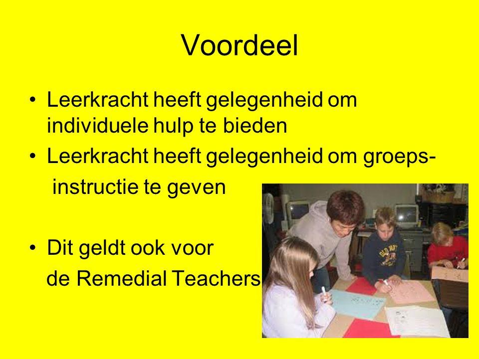 Voordeel Leerkracht heeft gelegenheid om individuele hulp te bieden