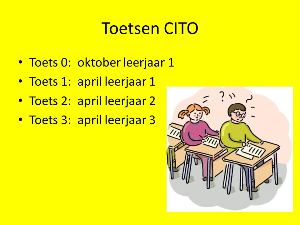 Toetsen CITO Toets 0: oktober leerjaar 1 Toets 1: april leerjaar 1