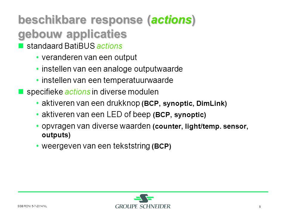 beschikbare response (actions) gebouw applicaties