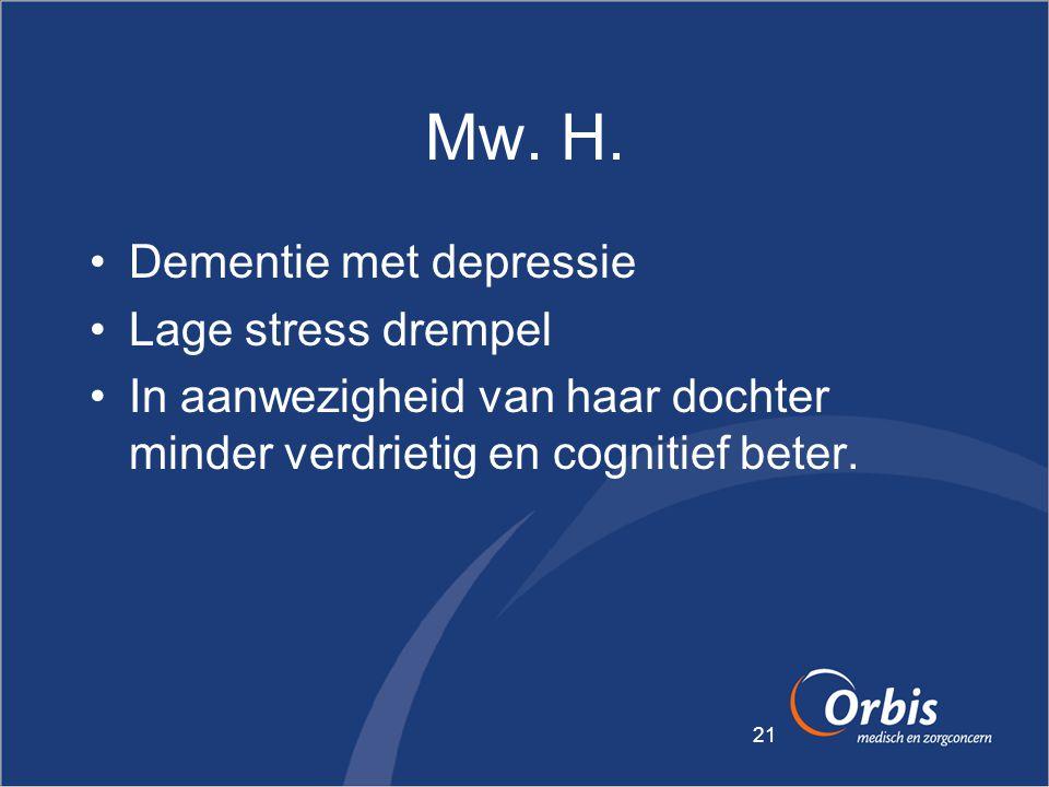 Mw. H. Dementie met depressie Lage stress drempel