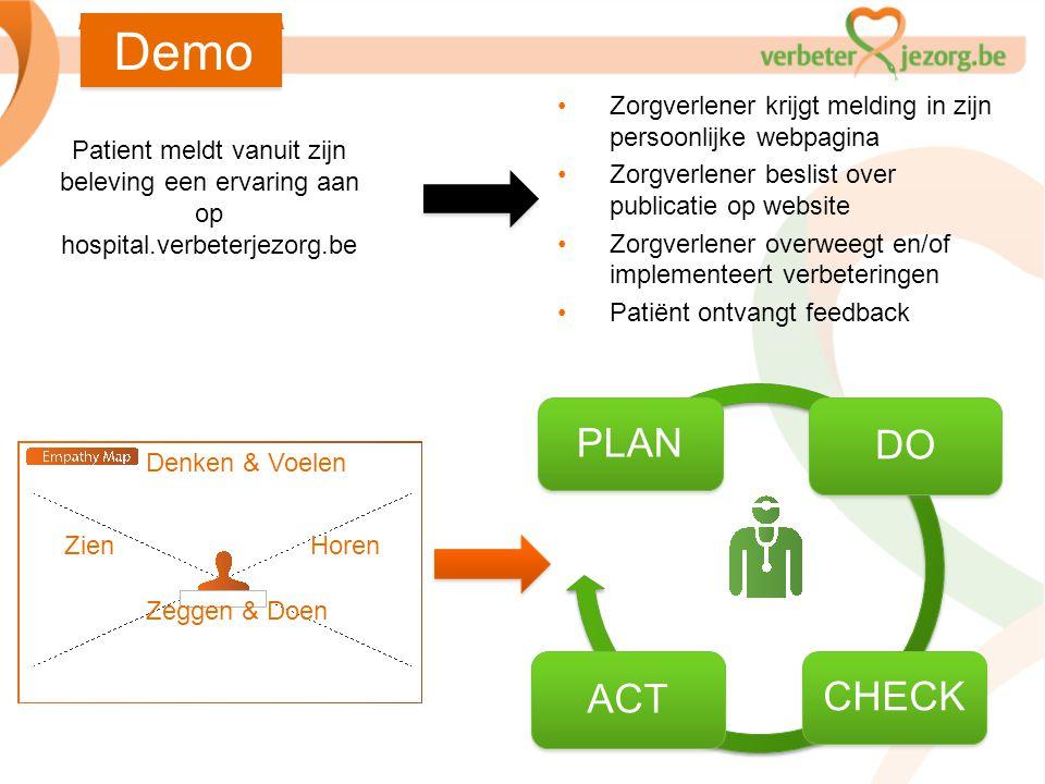 Demo Zorgverlener krijgt melding in zijn persoonlijke webpagina. Zorgverlener beslist over publicatie op website.