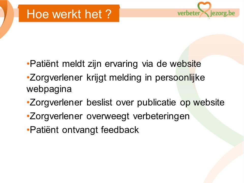 Hoe werkt het Patiënt meldt zijn ervaring via de website
