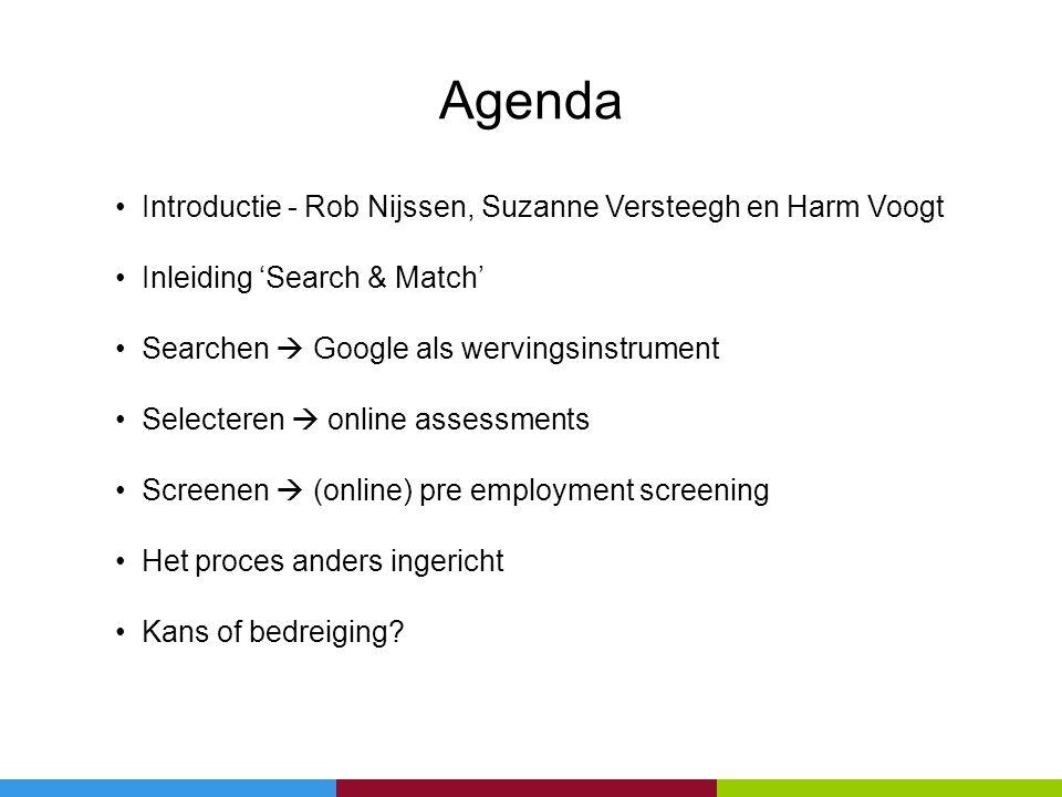 Agenda Introductie - Rob Nijssen, Suzanne Versteegh en Harm Voogt