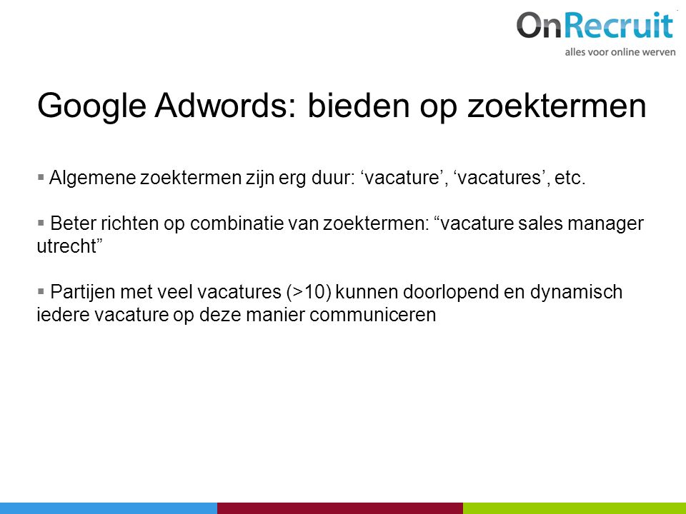 Google Adwords: bieden op zoektermen