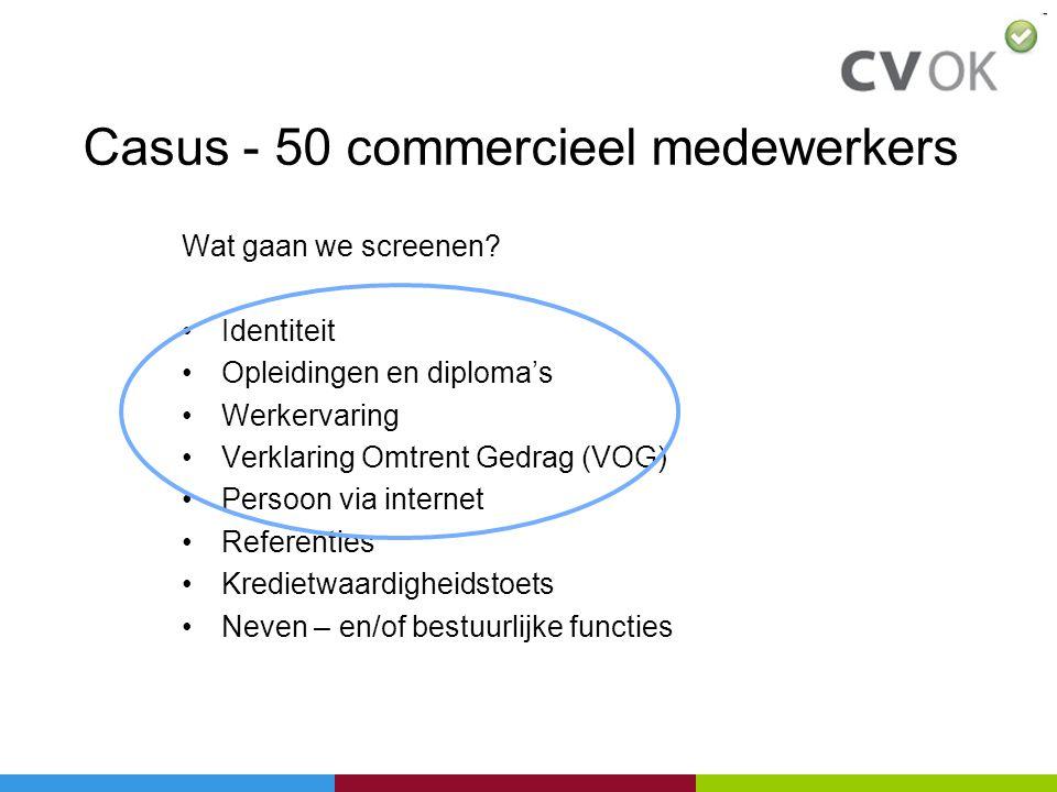 Casus - 50 commercieel medewerkers