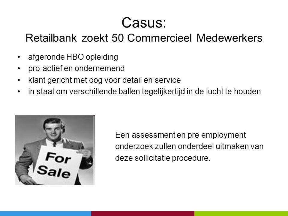 Casus: Retailbank zoekt 50 Commercieel Medewerkers