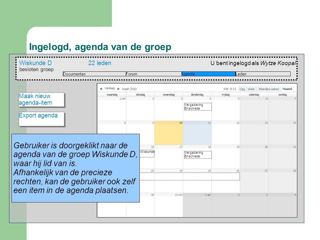 Ingelogd, agenda van de groep