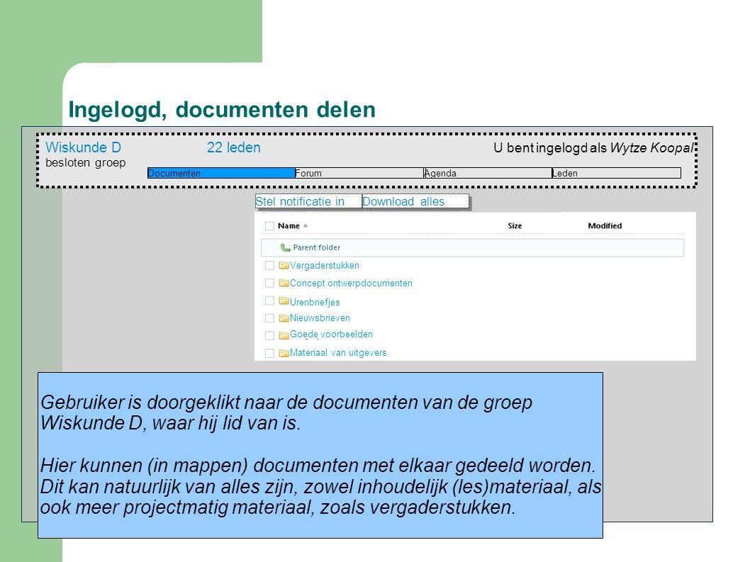 Ingelogd, documenten delen