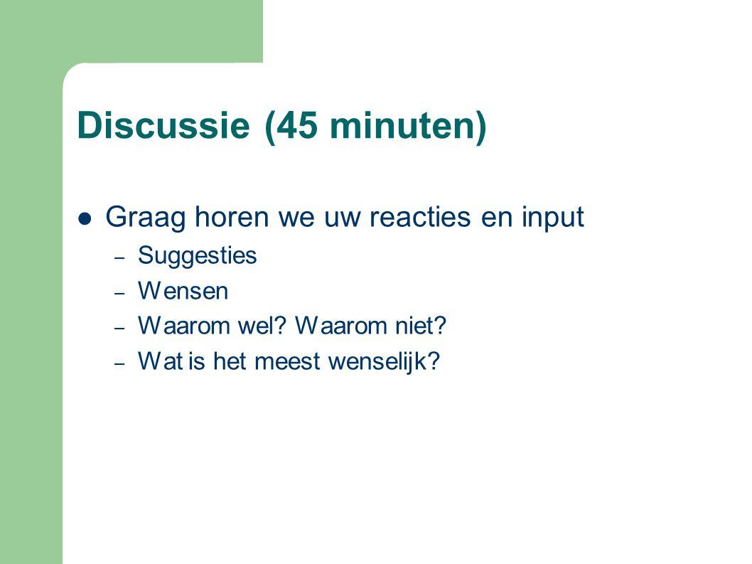 Discussie (45 minuten) Graag horen we uw reacties en input Suggesties