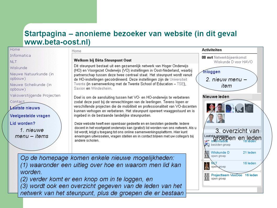 Startpagina – anonieme bezoeker van website (in dit geval www