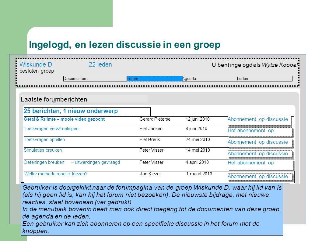 Ingelogd, en lezen discussie in een groep