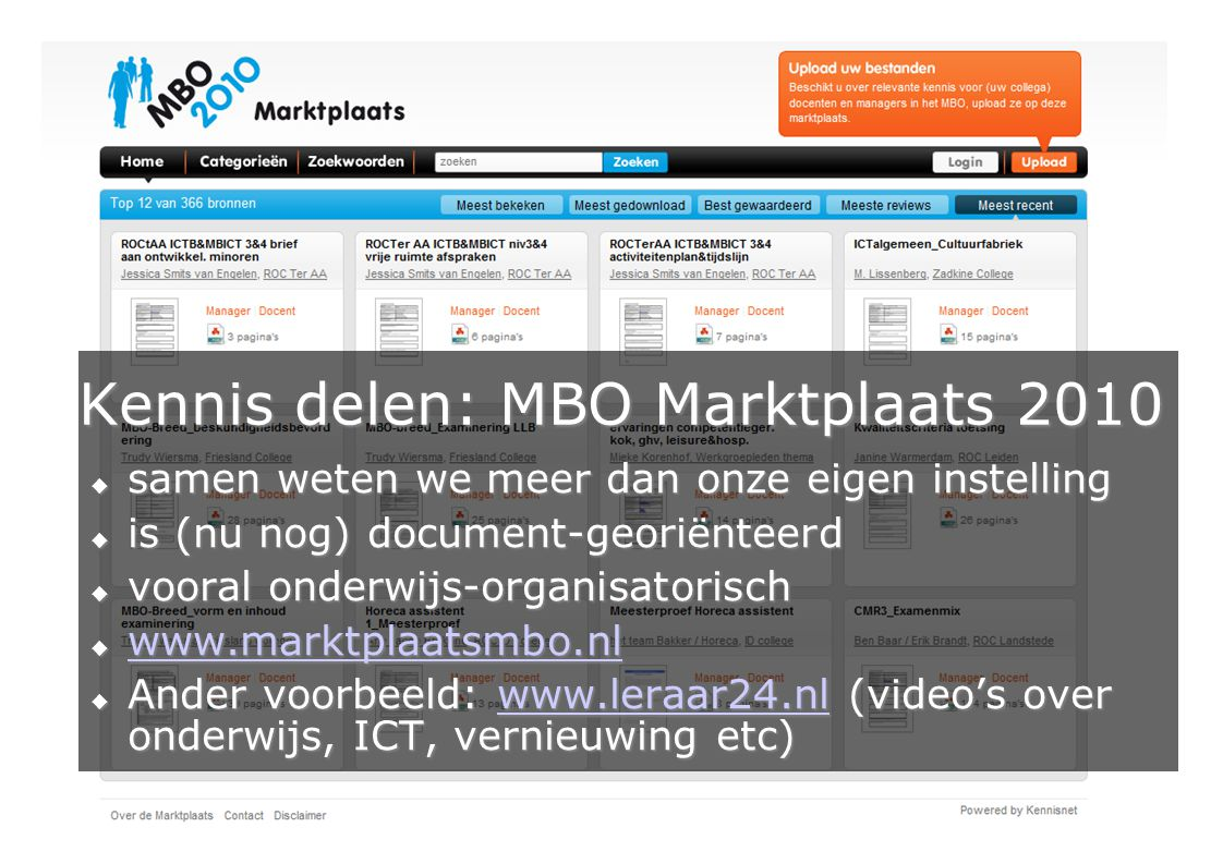 Kennis delen: MBO Marktplaats 2010