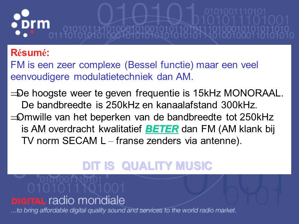 Résumé: FM is een zeer complexe (Bessel functie) maar een veel eenvoudigere modulatietechniek dan AM.