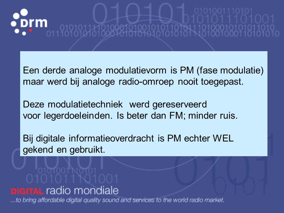 Een derde analoge modulatievorm is PM (fase modulatie) maar werd bij analoge radio-omroep nooit toegepast. Deze modulatietechniek werd gereserveerd voor legerdoeleinden. Is beter dan FM; minder ruis.