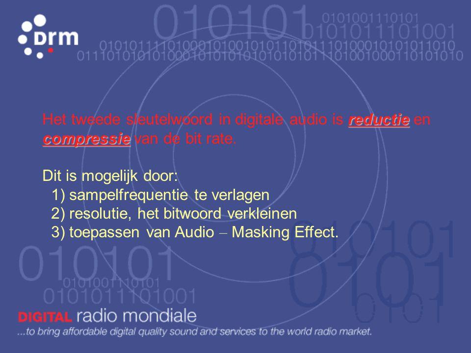 Het tweede sleutelwoord in digitale audio is reductie en compressie van de bit rate.
