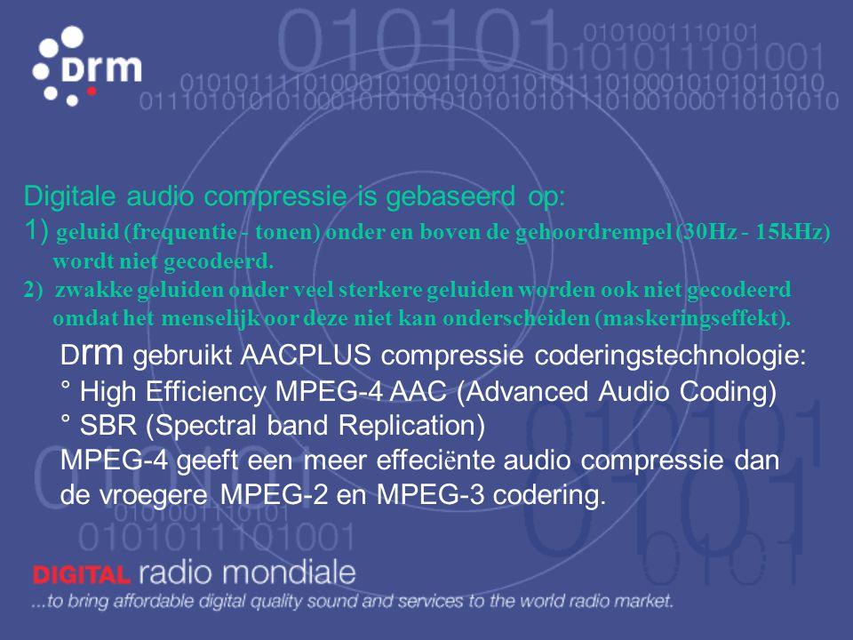 Digitale audio compressie is gebaseerd op: 1) geluid (frequentie - tonen) onder en boven de gehoordrempel (30Hz - 15kHz) wordt niet gecodeerd.