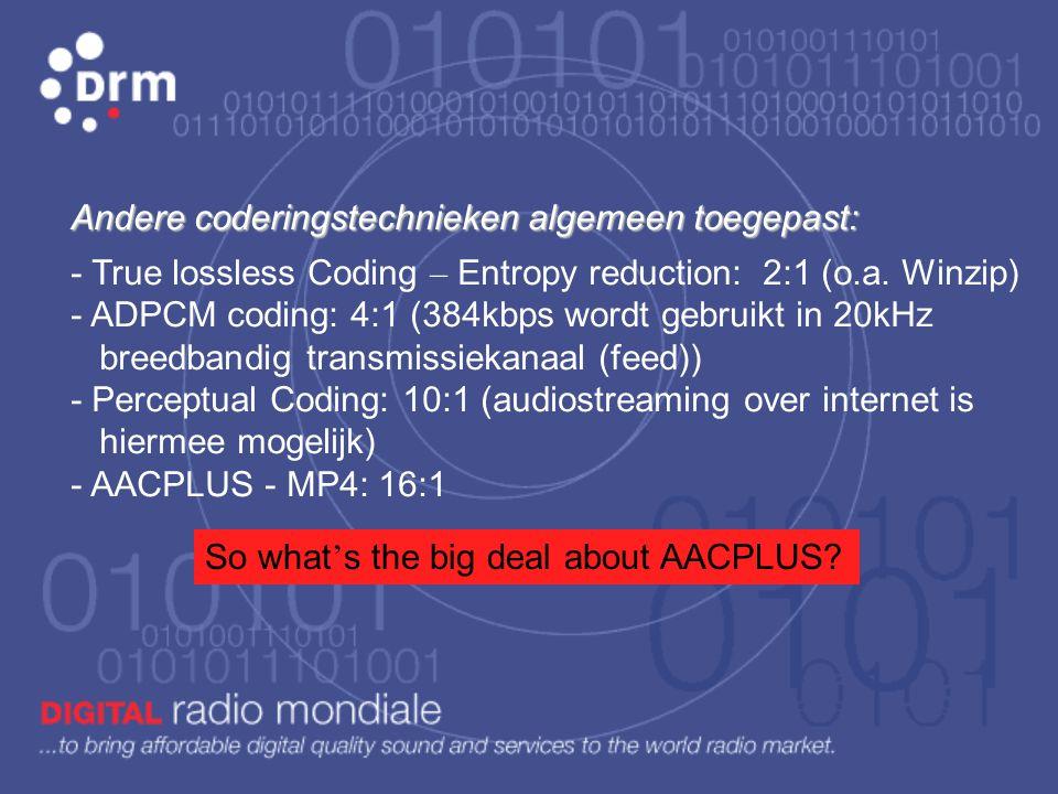 Andere coderingstechnieken algemeen toegepast: